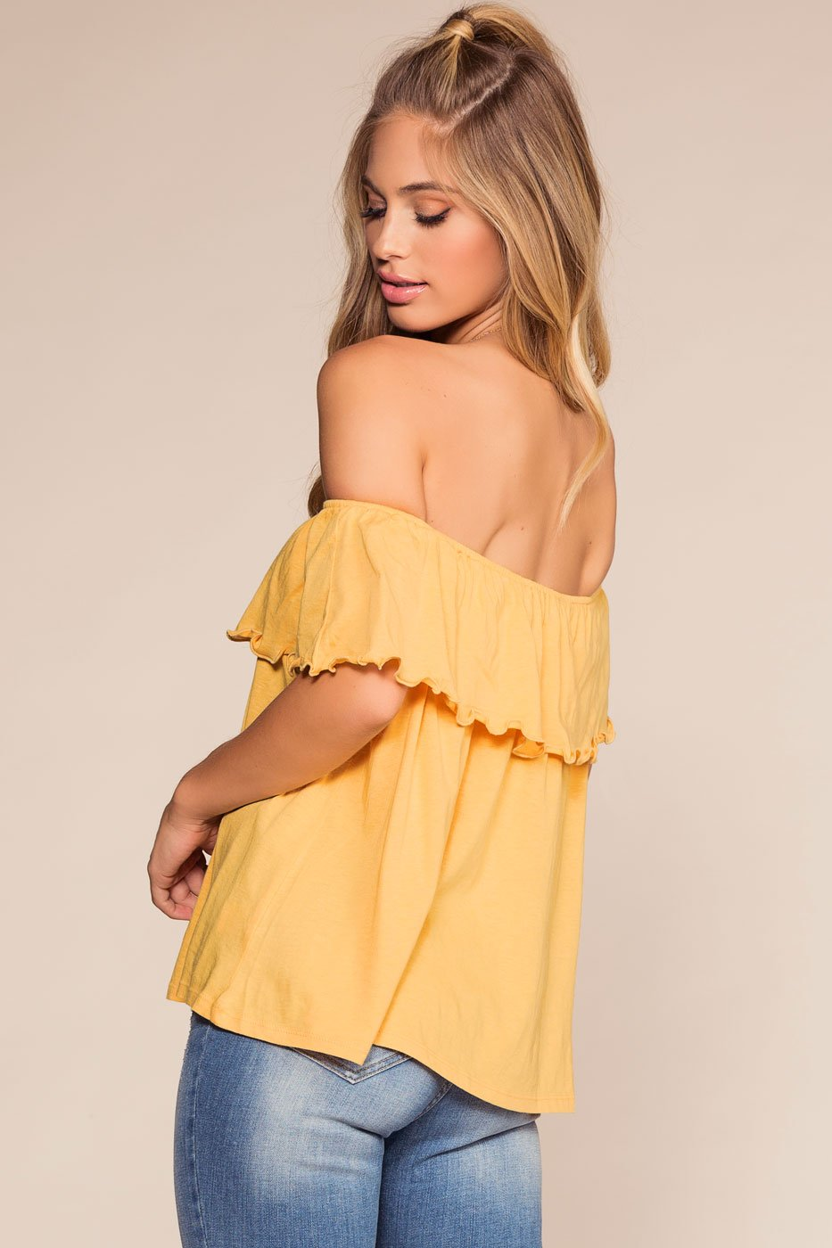 Honey Ruffle Alley Off The Shoulder Top