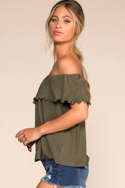 Olive Off The Shoulder Top