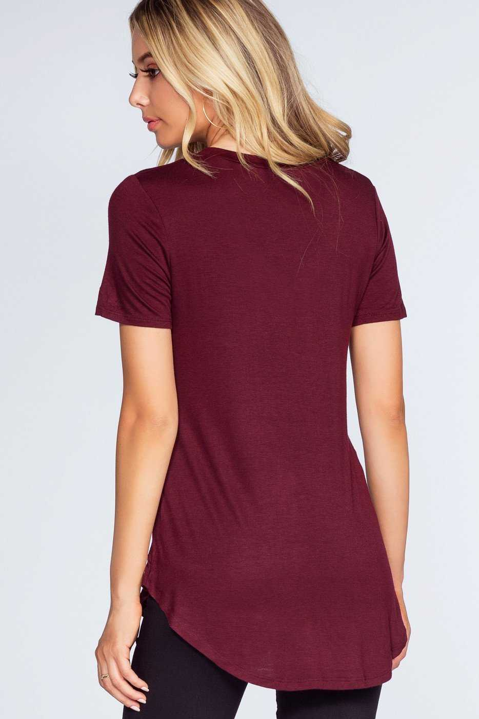 Tops - Alli Distressed Tee - Burgundy
