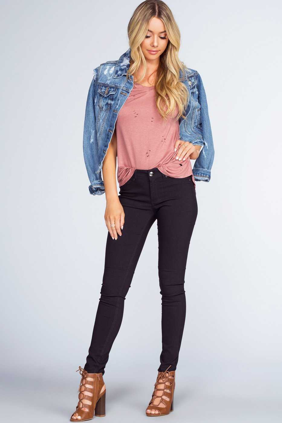Tops - Alli Distressed Tee - Misty Pink