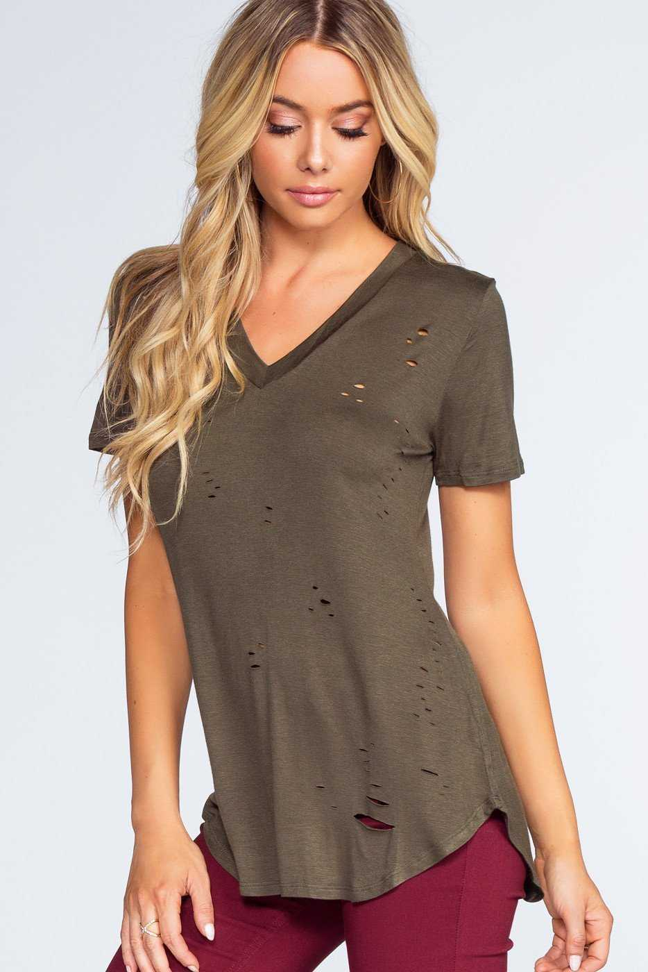 Tops - Alli Distressed Tee - Olive