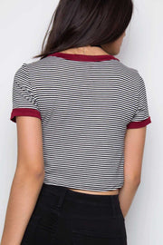 Tops - Aracely Stripe Crop Top - Burgundy