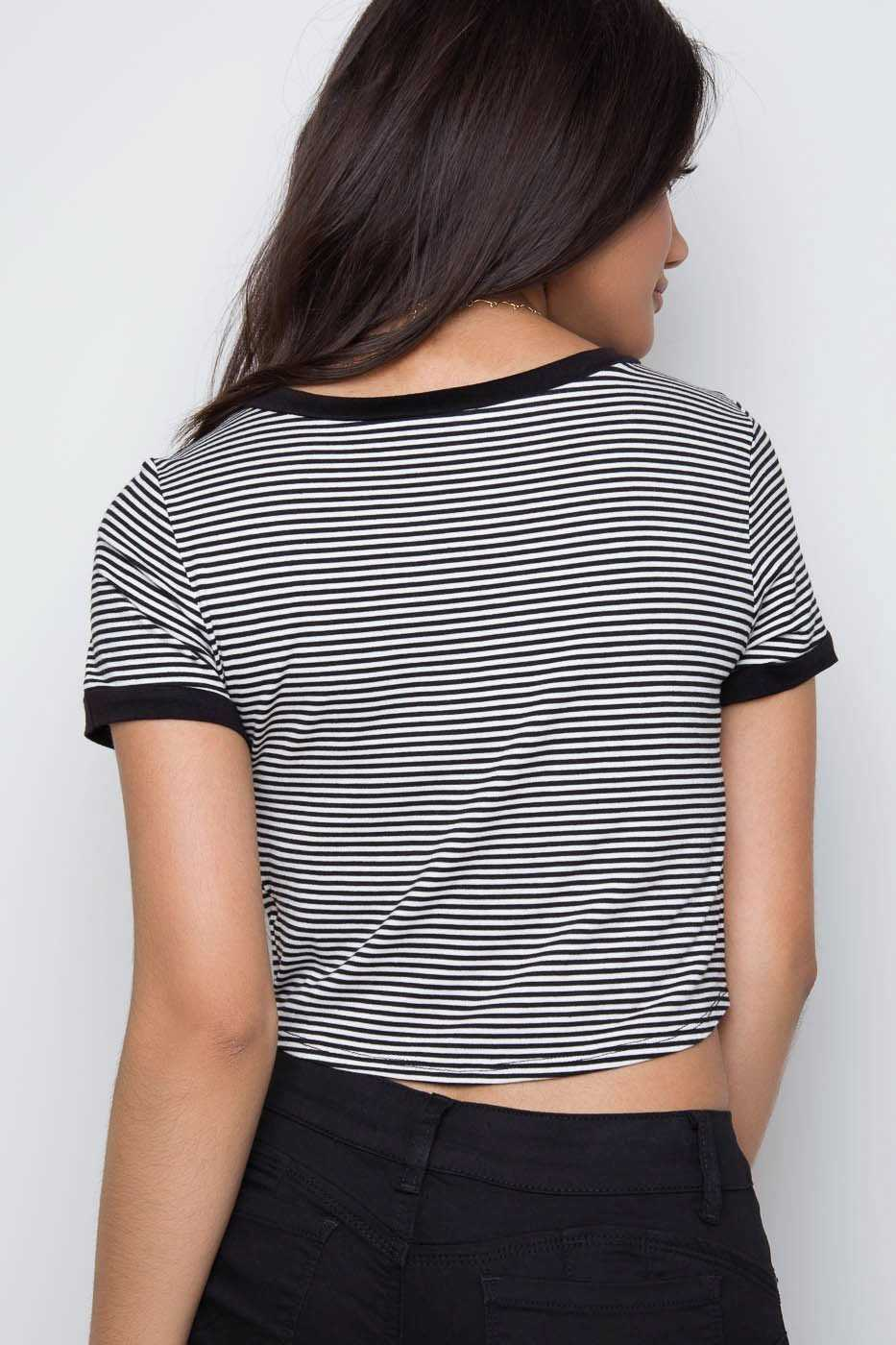 Tops - Aracely Stripe Top - Black
