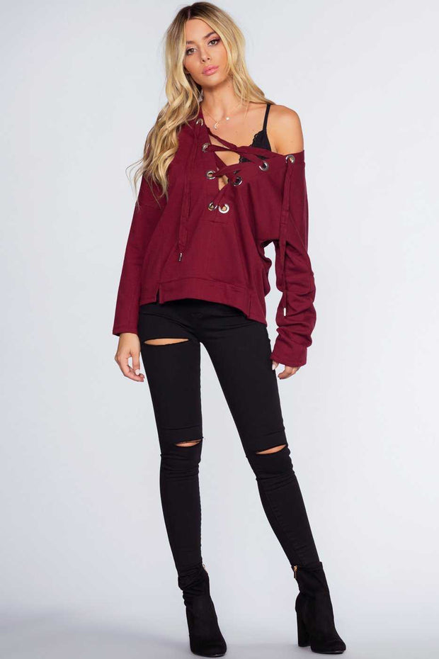 Tops - Audrina Lace Up Top - Burgundy