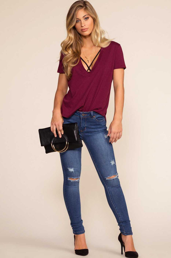 Tops - Austin V-Neck Tee - Burgundy