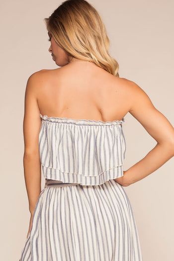 Stripe Off The Shoulder Crop Top