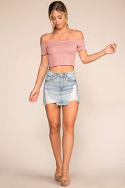 Blush Stripe Off The Shoulder Crop Top