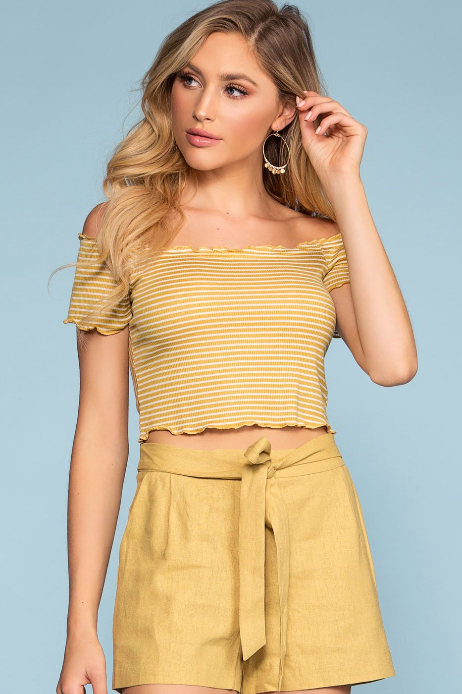Honey Stripe Off The Shoulder Crop Top