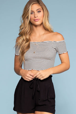 Tomas Black And White Striped Crop Top