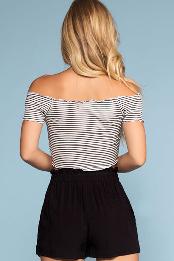 Tops - Beginnings Stripe Off The Shoulder Crop Top - White