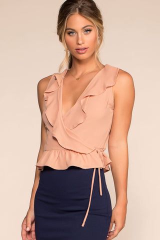 Bring It Back Halter Crop Top - Peach