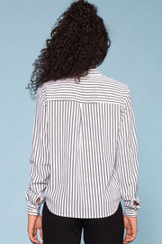 Striped White and Black Button Top