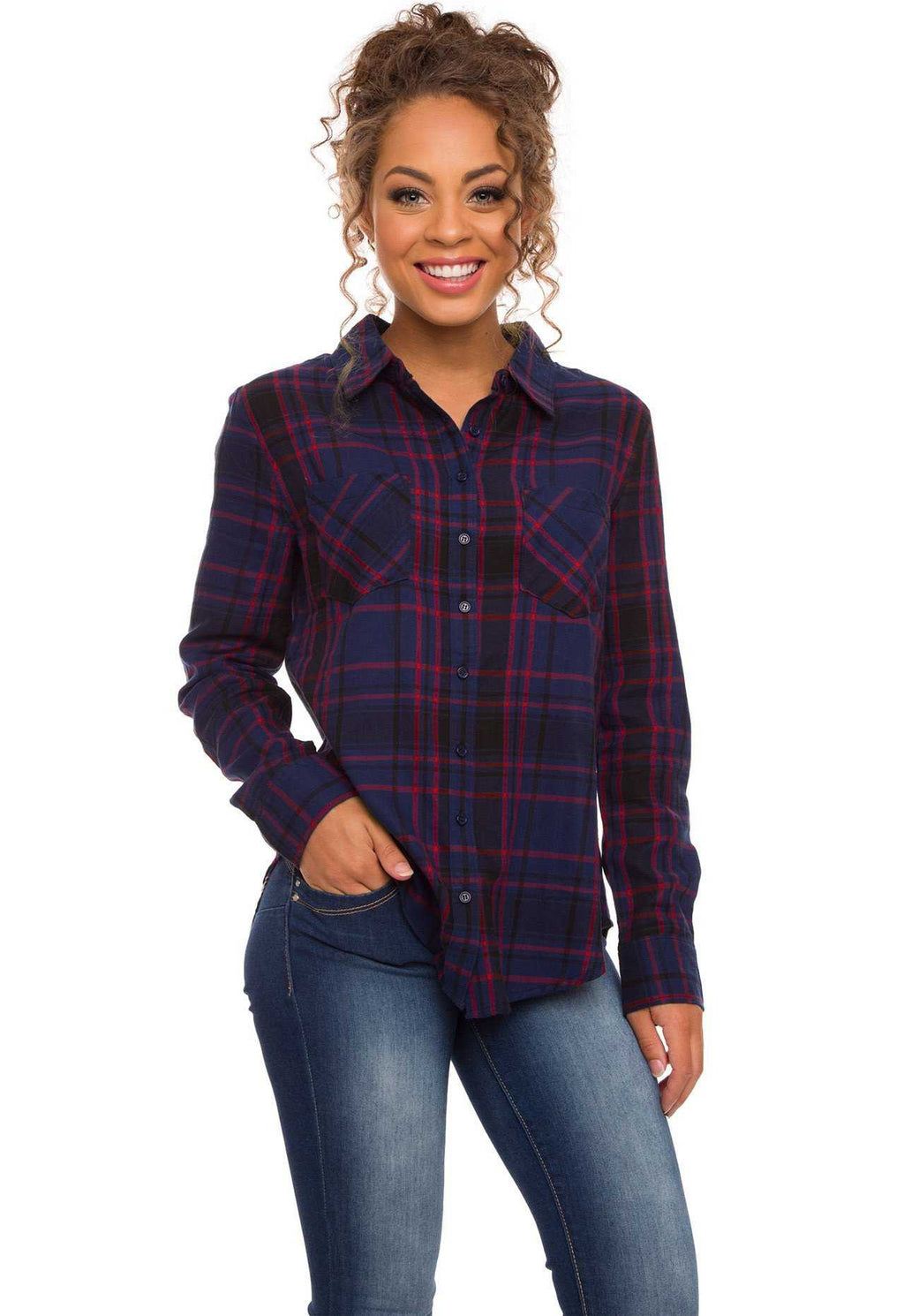 Tops - Beth Plaid Top - Navy