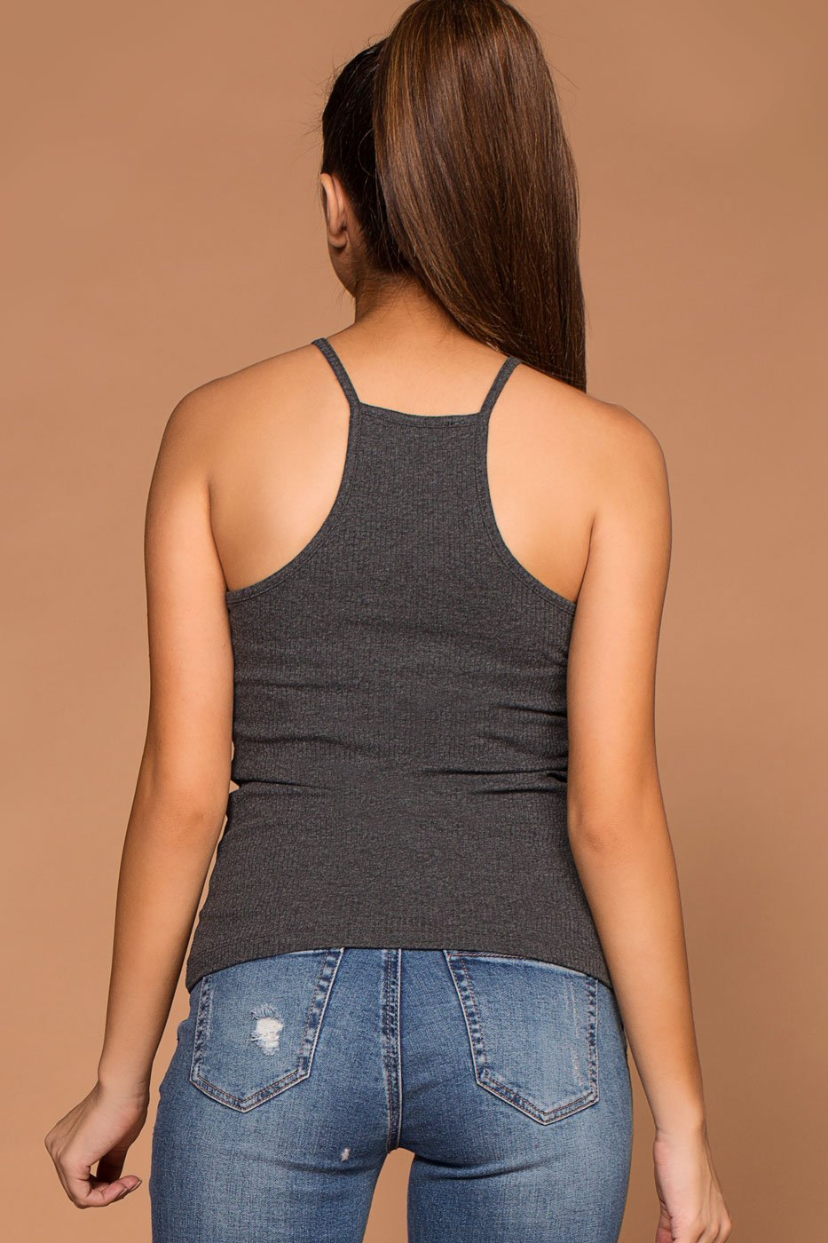 Tops - Bethany Charcoal Ribbed Knit Tank Top