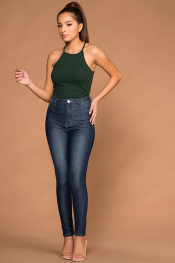 Tops - Bethany Hunter Green Ribbed Knit Tank Top