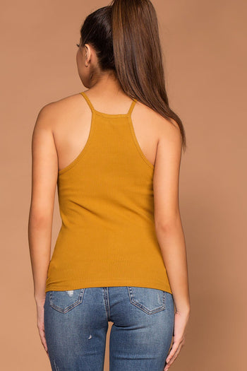 Tops - Bethany Mustard Ribbed Knit Tank Top