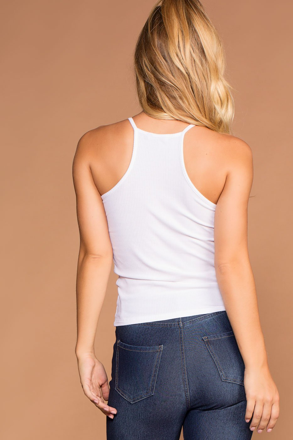Tops - Bethany White Ribbed Knit Tank Top