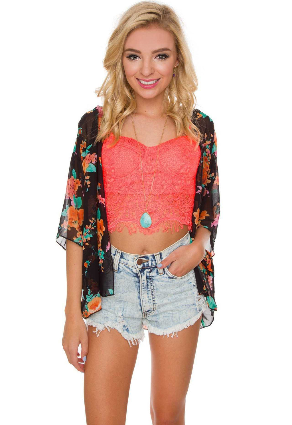 Tops - Betsy Lace Bustier - Neon Coral