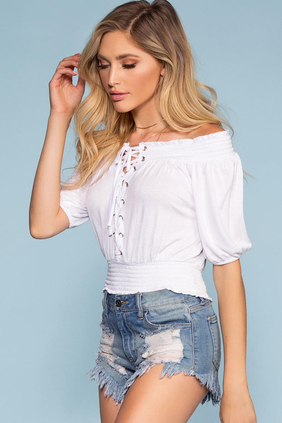 Lace Up White Off The Shoulder Top