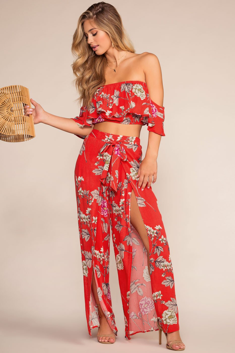 Tops - Bloom With A View Off The Shoulder Crop Top - Red