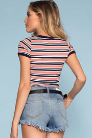 Blue Coral and White Stripe Crop Top