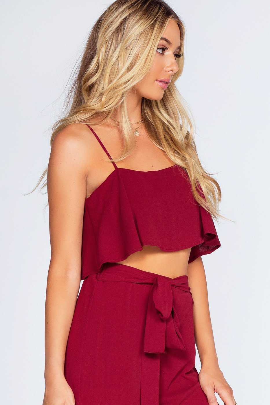 Tops - Breezy Night Crop Top - Burgundy