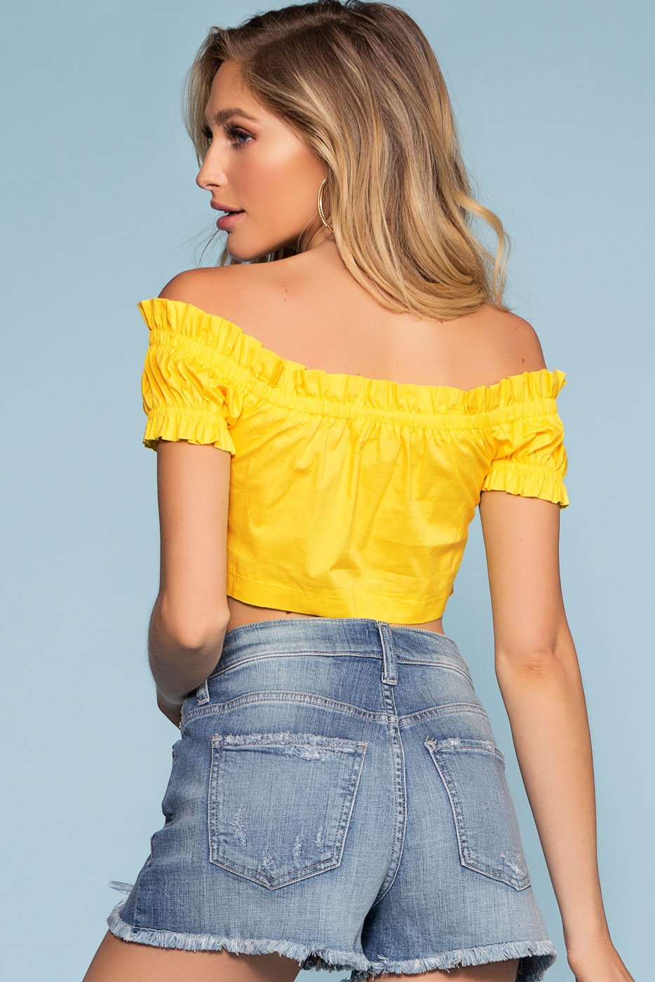 Yellow Lace Up Off-the-Shoulder Crop Top with Ruffle
