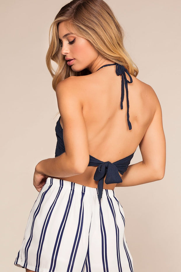 Navy Ribbed Halter Crop Top