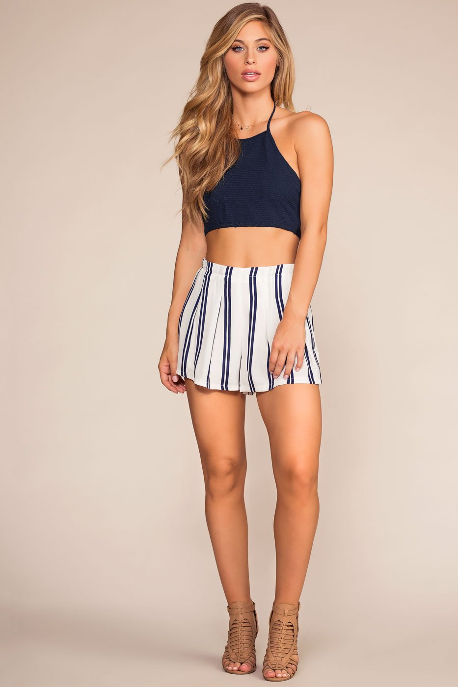 Tops - Bring It Back Halter Crop Top - Navy
