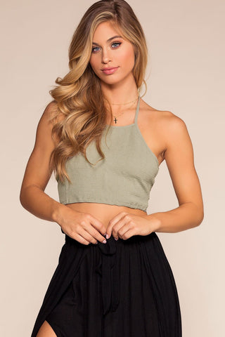 Tow The Line Stripe Crop Top - Navy