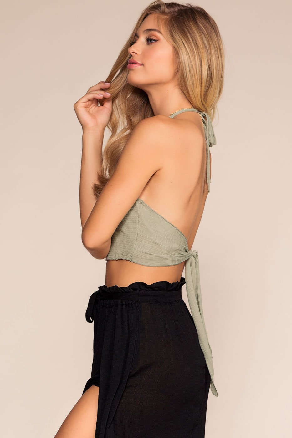 Tops - Bring It Back Halter Crop Top - Sage