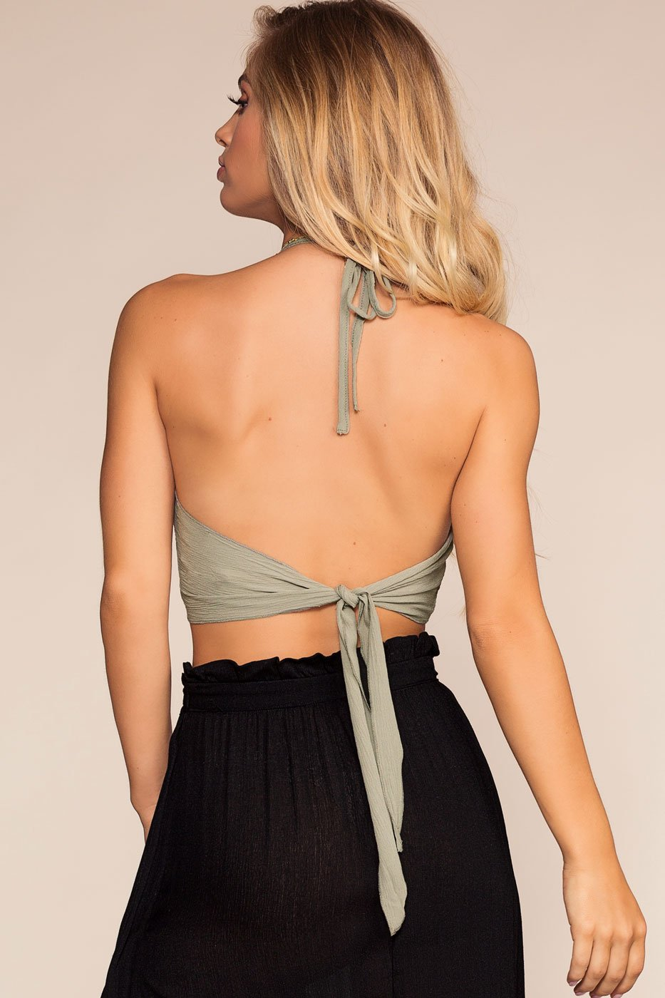 Sage Ribbed Back Halter Crop Top