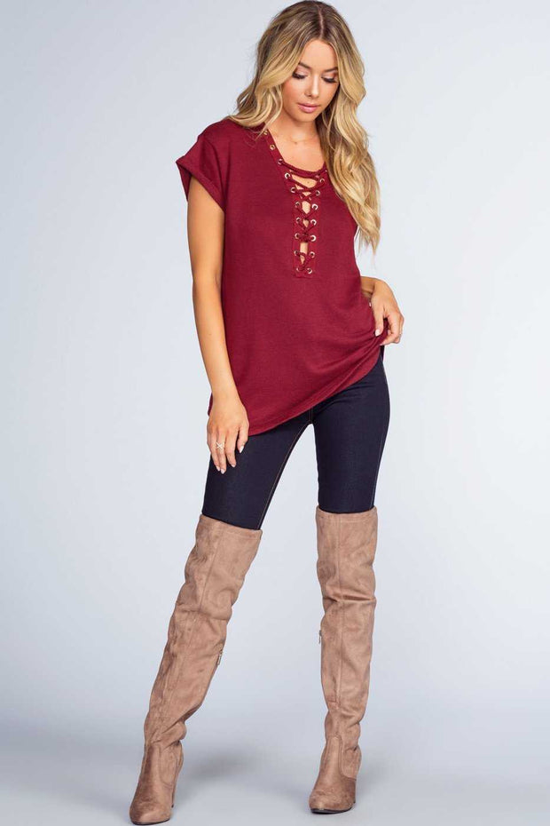 Tops - Brooke Lace Up Top - Burgundy
