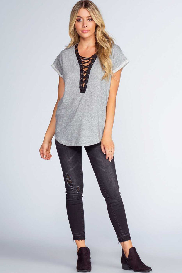 Tops - Brooke Lace Up Top - Grey