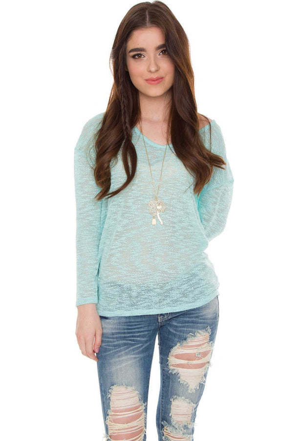 Tops - Candi Knit Top - Mint