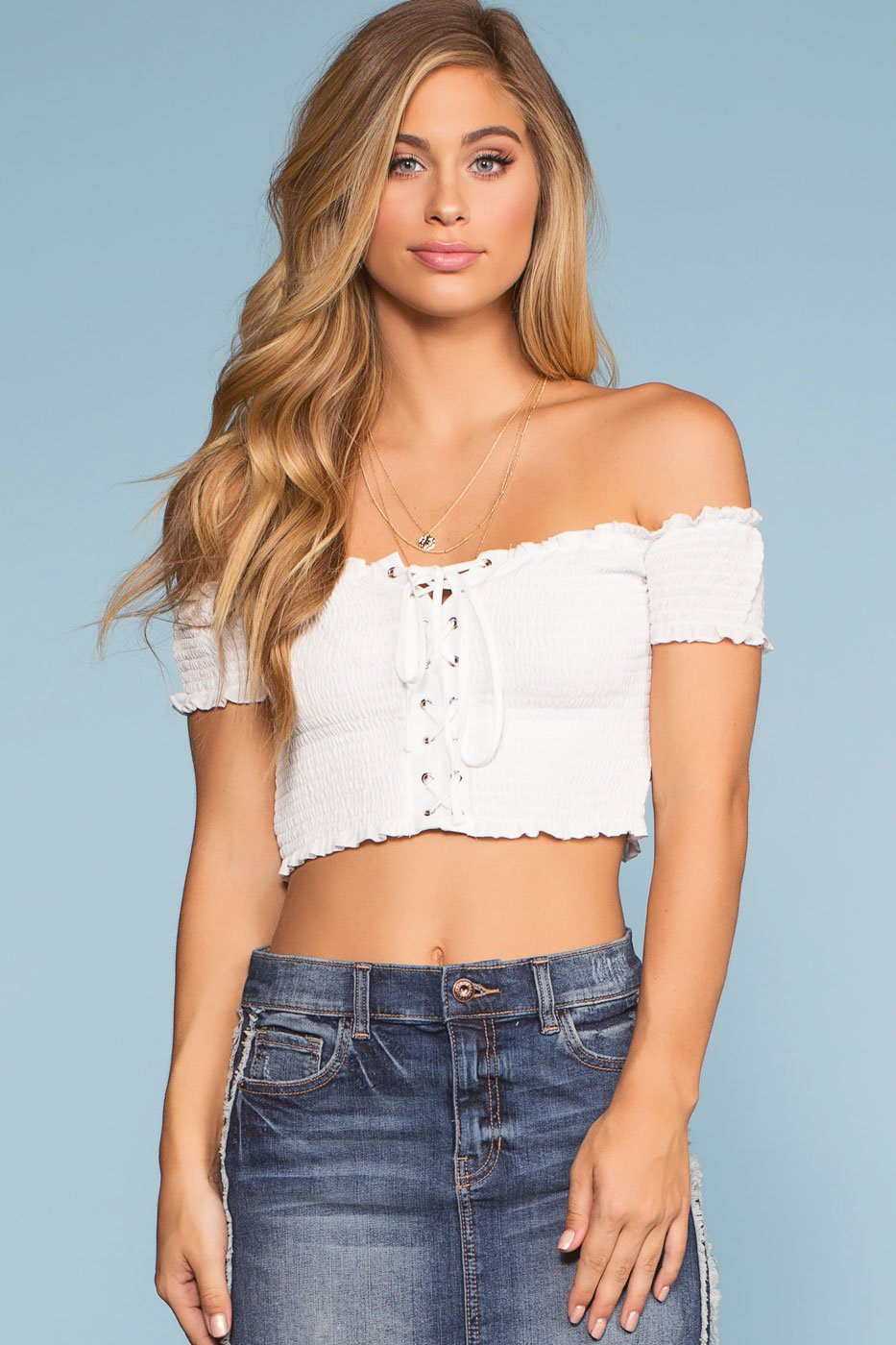 White Lace Up Off The Shoulder Crop Top