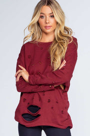 Tops - Caught In The Act Distressed Sweater - Burgundy