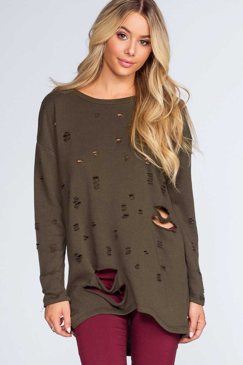 Tops - Caught In The Act Distressed Sweater - Olive