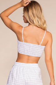 Checkerboard White And Black Crop Top