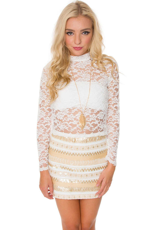 Tops - Christie Lace Top - White