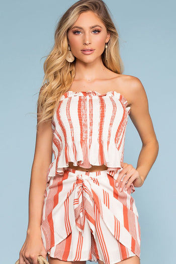 Tops - Coney Island Off The Shoulder Striped Crop Top