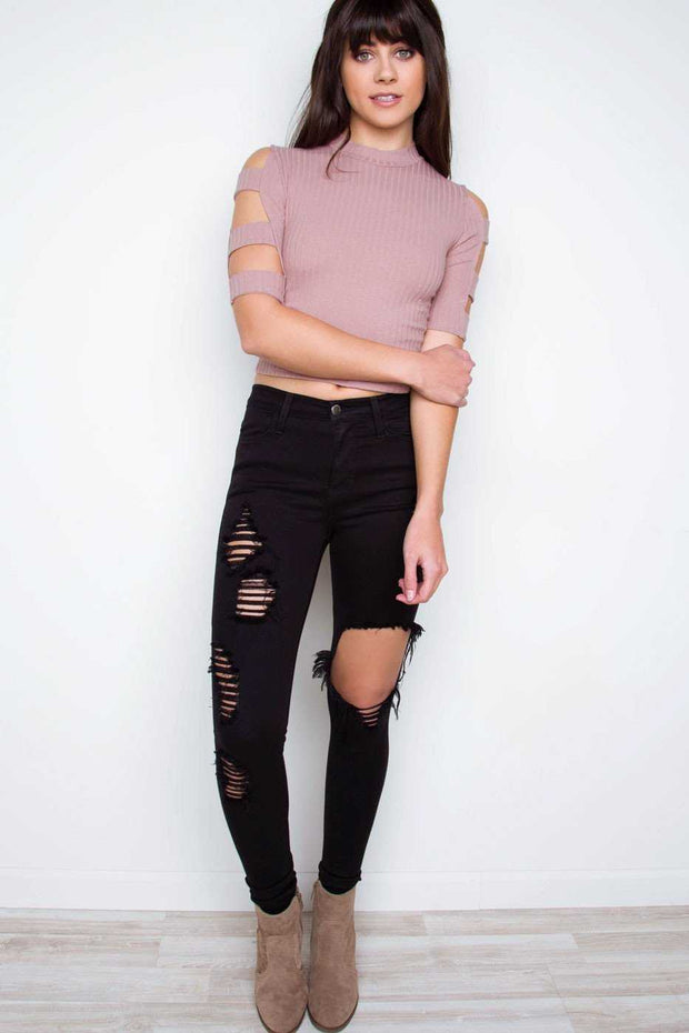 Tops - Cosmos Cut Out Crop Top - Mauve