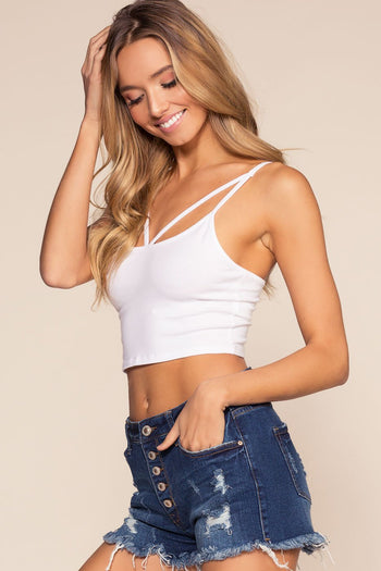 White Crisscross Crop Top