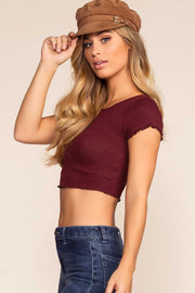 Tops - Danielle Crop Top - Burgundy