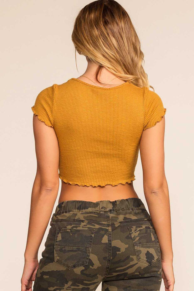 Tops - Danielle Crop Top - Mustard