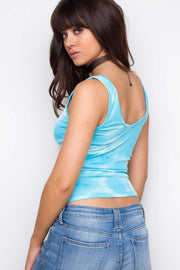 Tops - Danni Lace Up Tie Dye Top - Light Blue