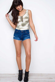Tops - Danni Lace Up Tie Dye Top - Olive