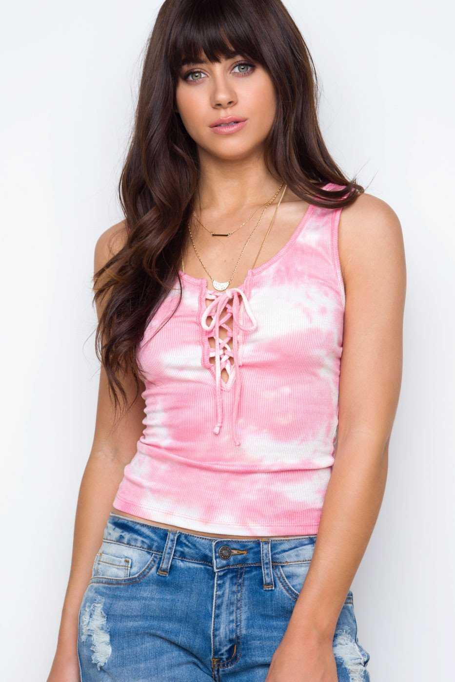 Tops - Danni Lace Up Tie Dye Top - Pink