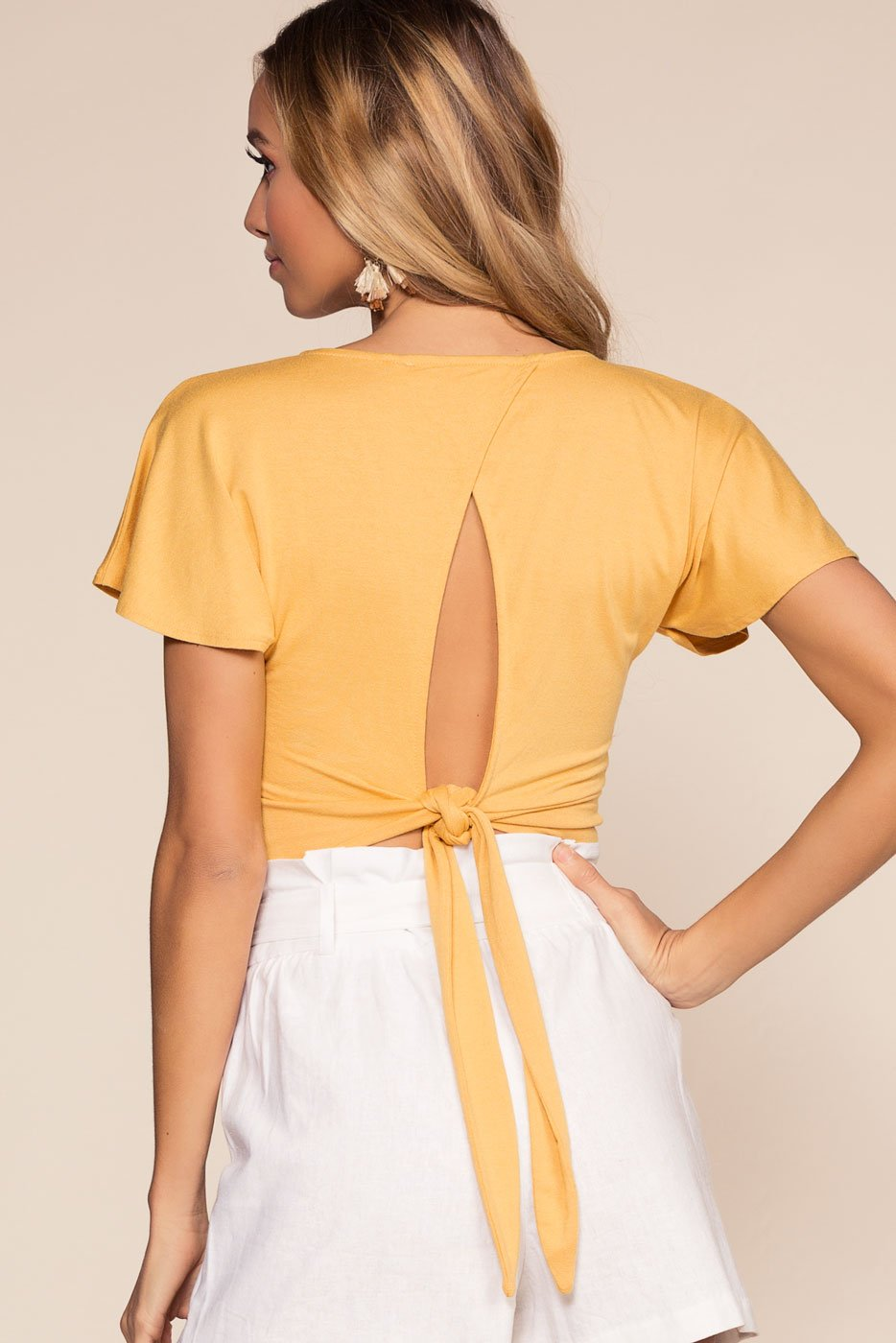 Honey Wrap Crop Top with Keyhole Back