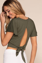 Olive Wrap Crop Top with Keyhole Back